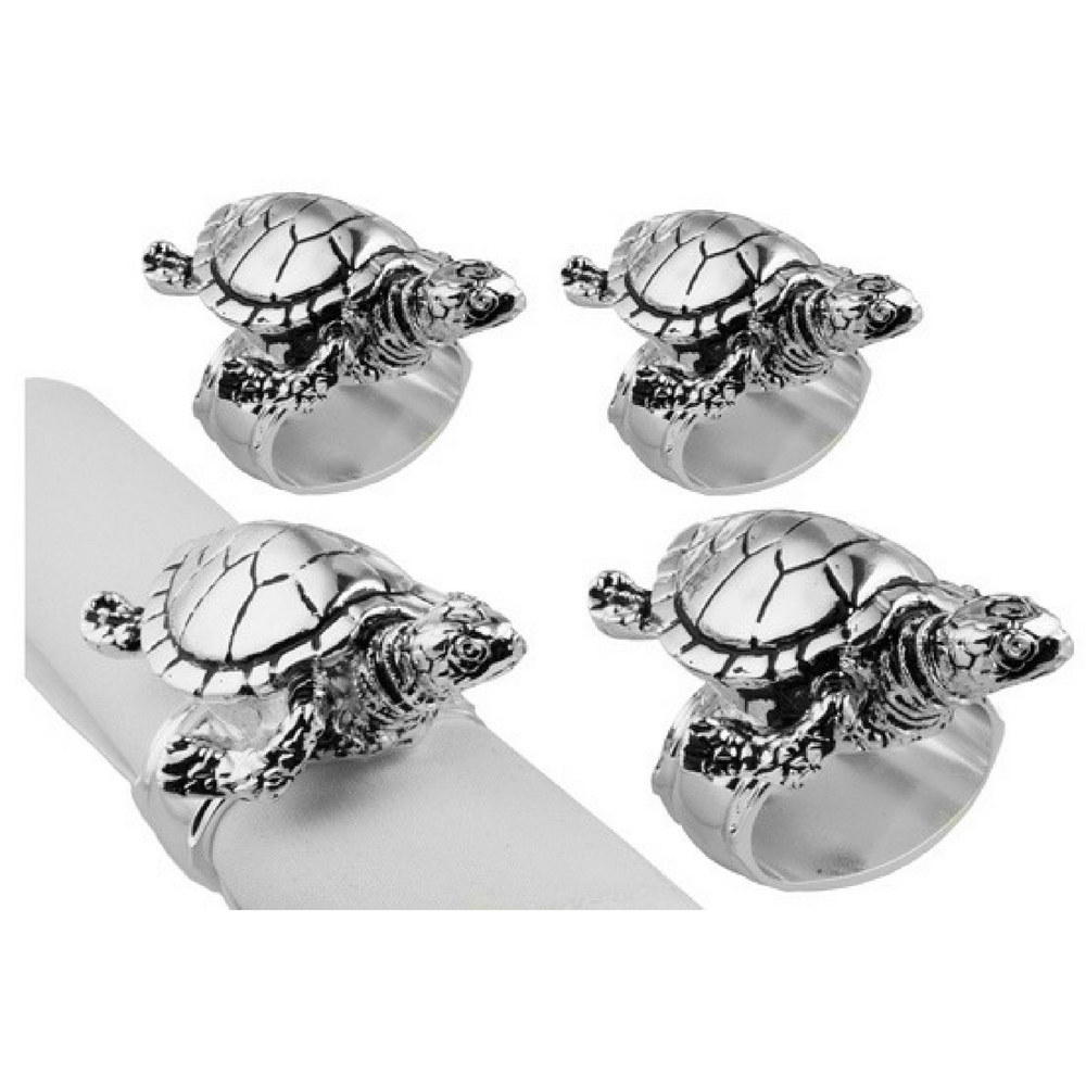 Silver Turtle Napkin Rings-Set of 4