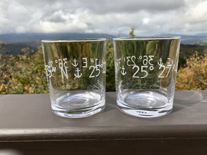 Riedel Crystal On the Rocks - Engraved Coordinates Glasses - Set of Two