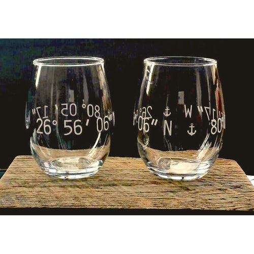 The Vino-Engraved Coordinates Glasses - Set of Two