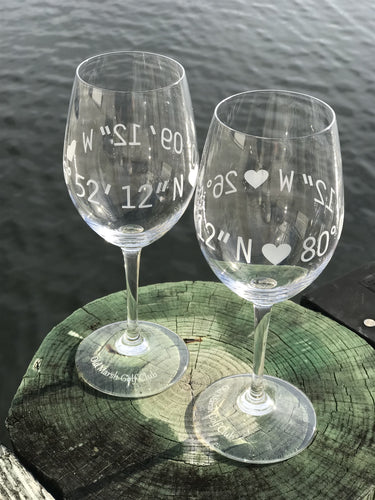 Vino-White-Wine with Stem- Engraved Coordinates Glass- Set of Two
