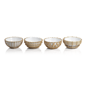 Wicker & Bamboo Condiment Bowl (Set of 4)