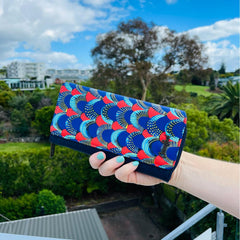 pu leather wallet with ethnic print