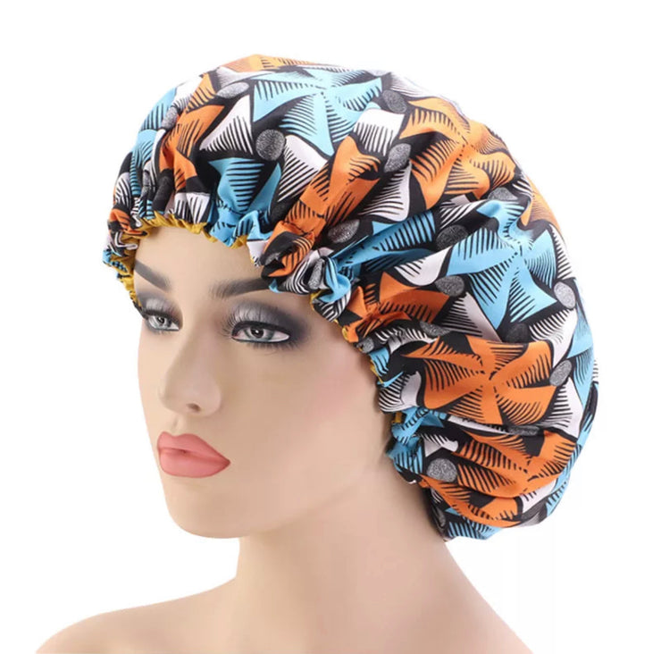 Orange African Print Bonnet