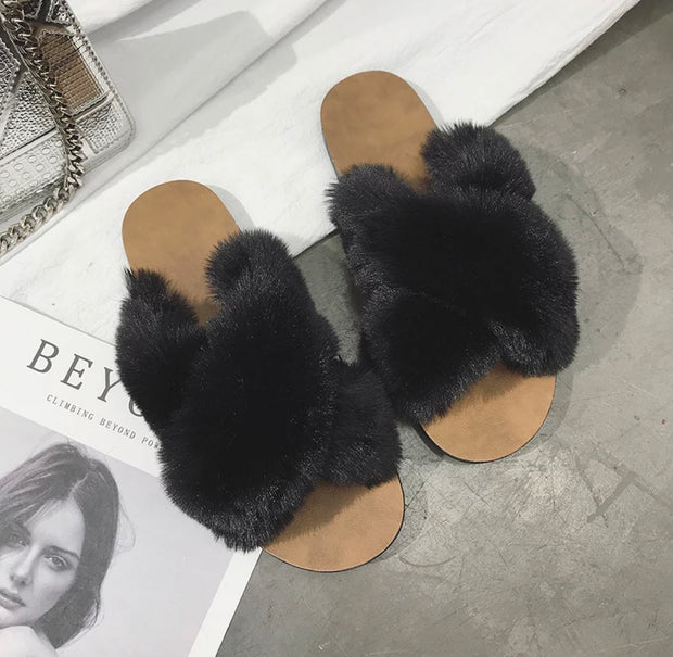 Black Furry Bedroom Slippers