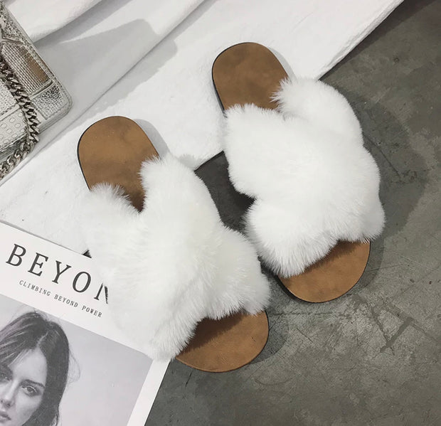 White Furry Bedroom Slippers