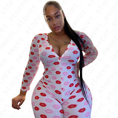 Red Kisses Full Body Onesie