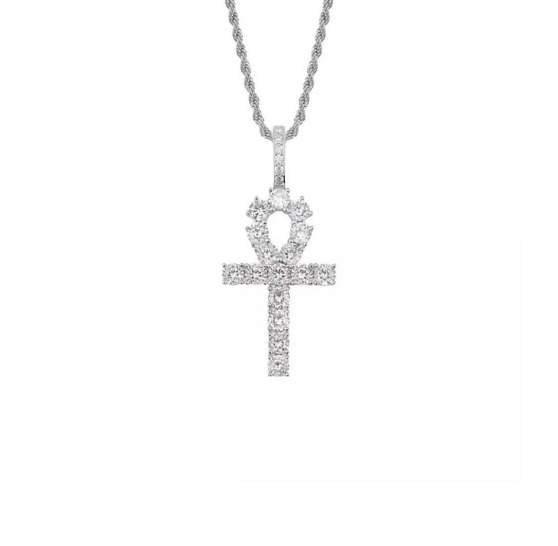 Icy Silver Ankh Chain