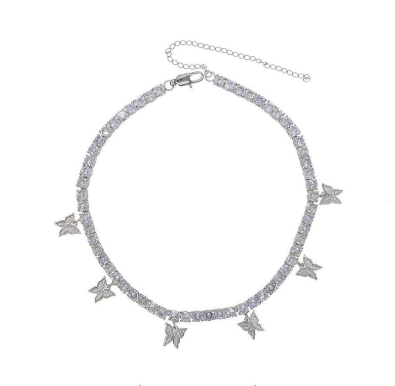 Silver Butterfly Tennis Necklace