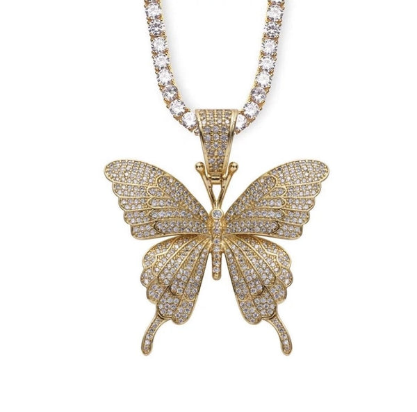 Golden Butterfly Tennis Necklace