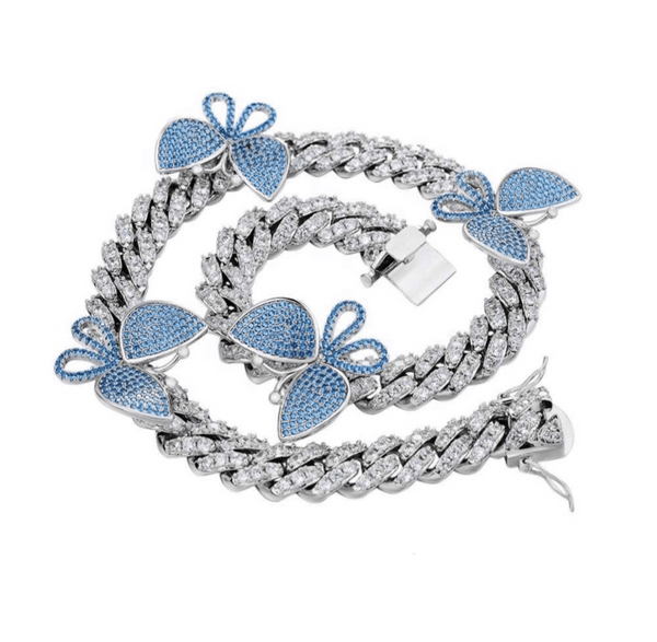 Blue Butterfly Cuban Necklace