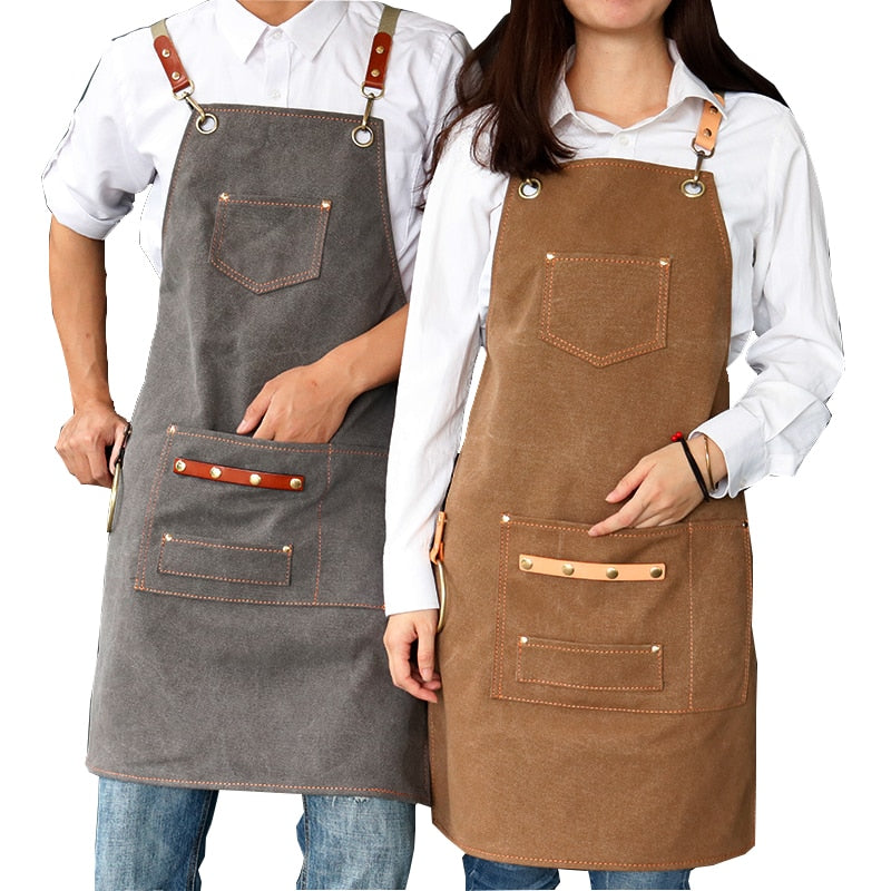 New Thick Canvas Unisex Apron Bib Coffee Shop