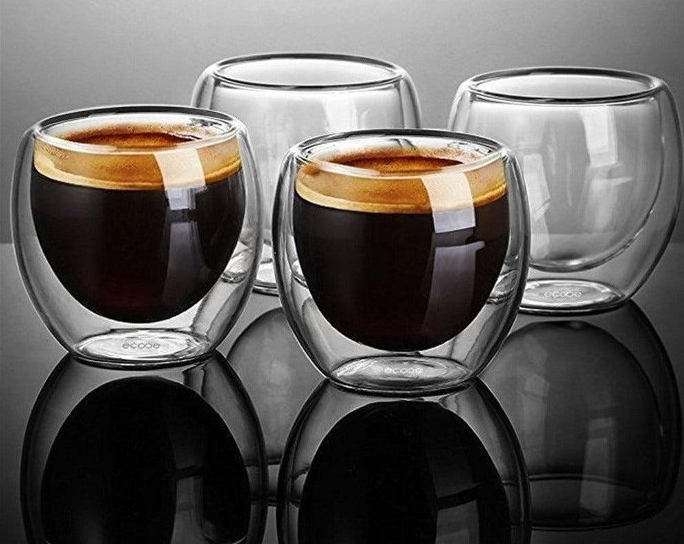 New  Heat-resistant Double Wall Glass Espresso Coffee Cup Set Handmade