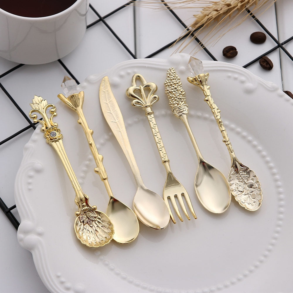 6pcs Vintage Spoons Fork Mini Royal Style Metal Gold