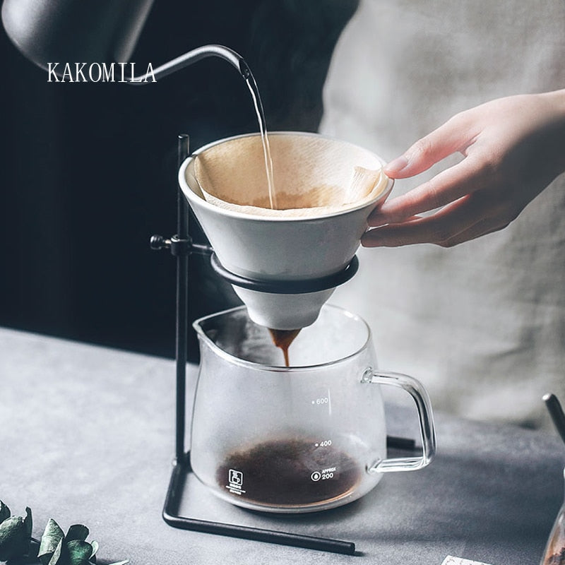 Hand brewed coffee filter set with V60 Glass