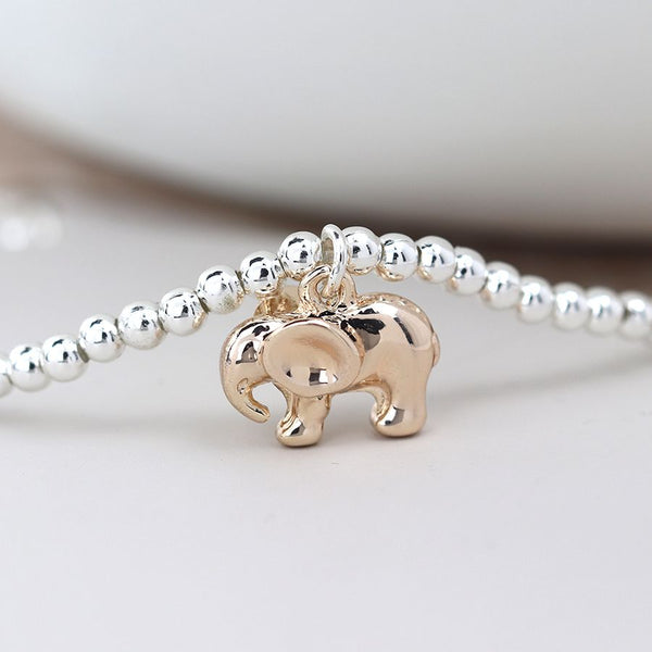 Silver Plated Bracelet with Rose Gold Elephant