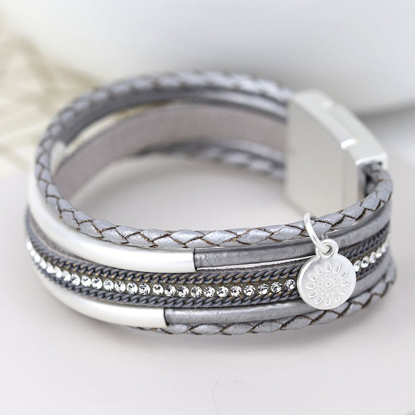 Grey Multi Strand Plaited Leather Bracelet