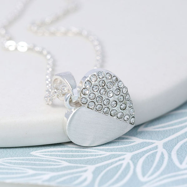 Silver Plated Split Crystal Heart Necklace
