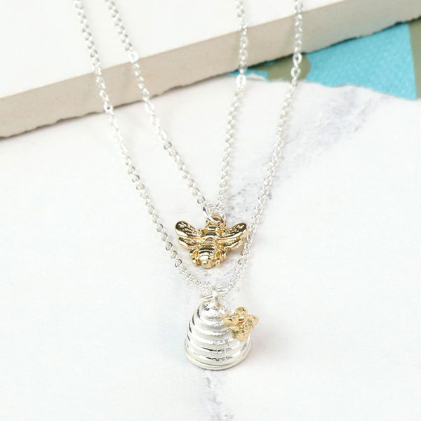 Silver Plated Layered Honey Bee And Beehive Necklace