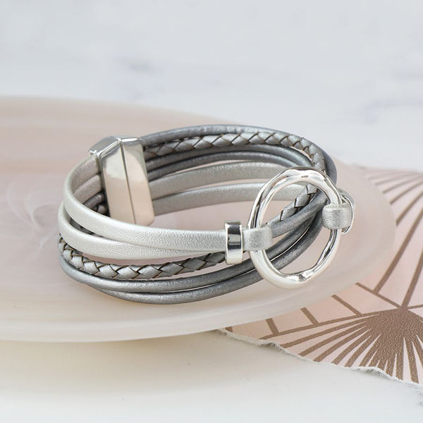 Multi Strand Grey Leather And Silver Plated Hoop Bracelet