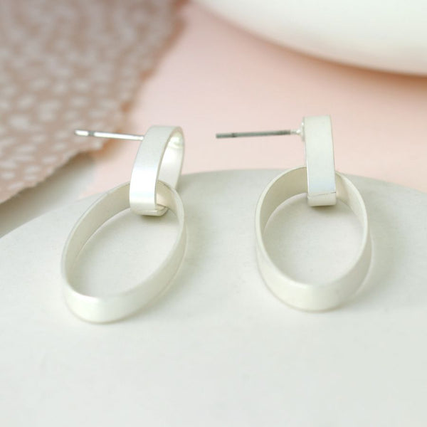 Silver Plated Matte Finish Linked Hoop Earrings