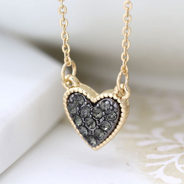 Gold Plated Heart Necklace With Black Crystals