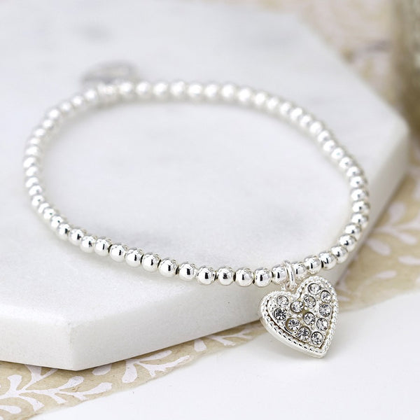 Silver Plated Bracelet With Crystal Inset Heart