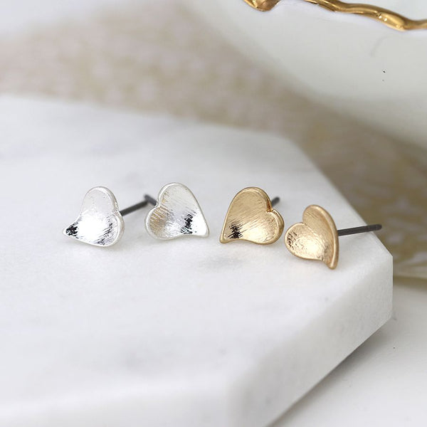 Silver & Gold Plated Heart Stud Earring Set