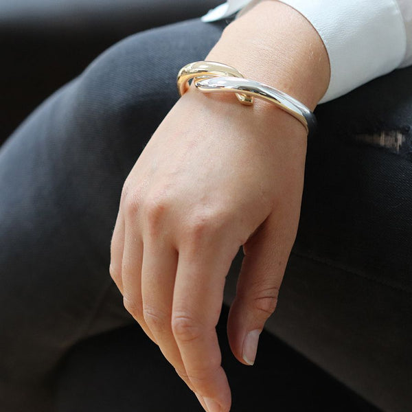 Gold And Silver Plated Double Curve Bangle