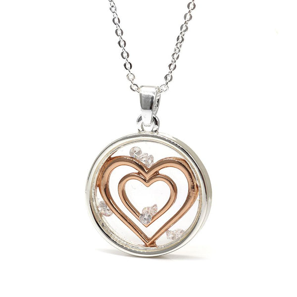 Circle Necklace With Rose Gold Hearts And Crystals