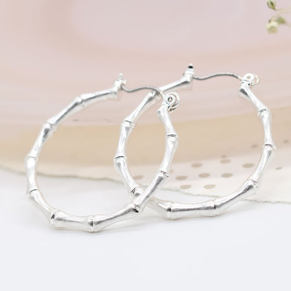 Silver plated bamboo hoop earrings