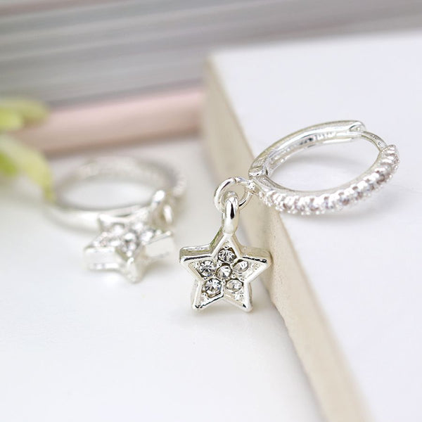 Silver plated crystal inset hoop and star drop earrings