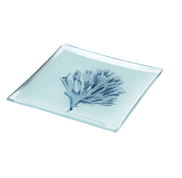 Gisela Graham - Small Blue Coral Glass Plate