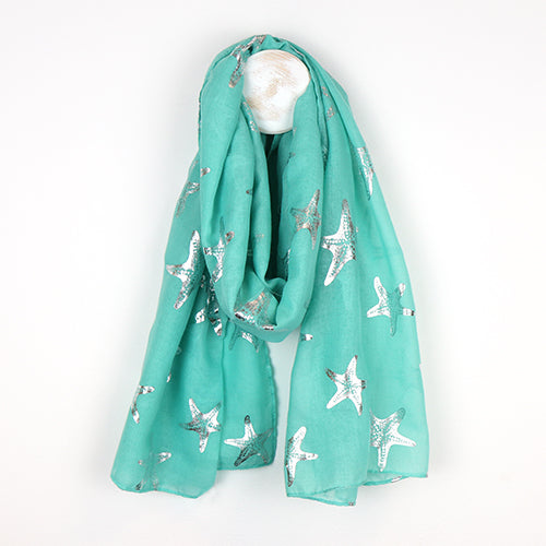 Turquoise Scarf With Metallic Starfish Print