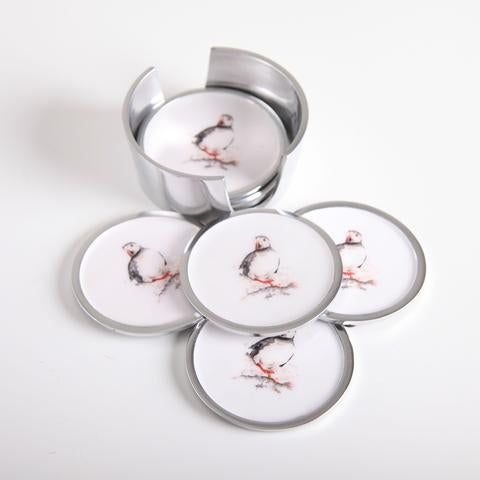 Set of 6 Coasters - Puffin