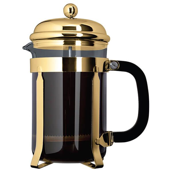 Cafe Ole Classic Cafetiere, Gold Plated Finish- 12 Cups