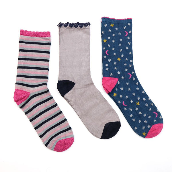 Triple sock box in pink and blue