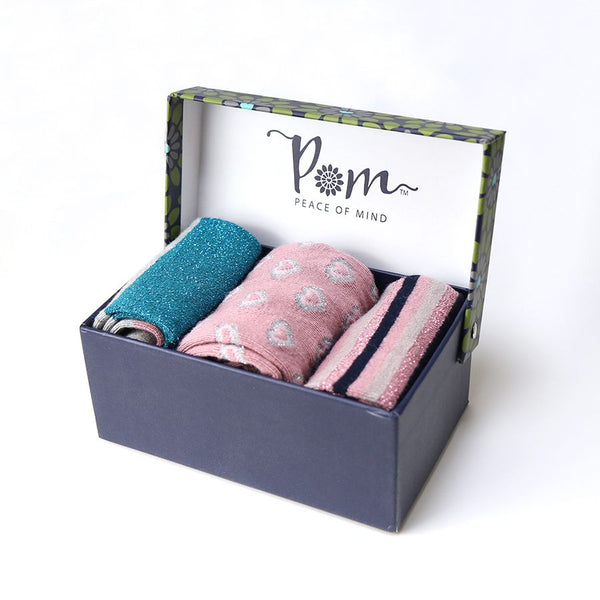 Triple sock box in sparkly blue and pink