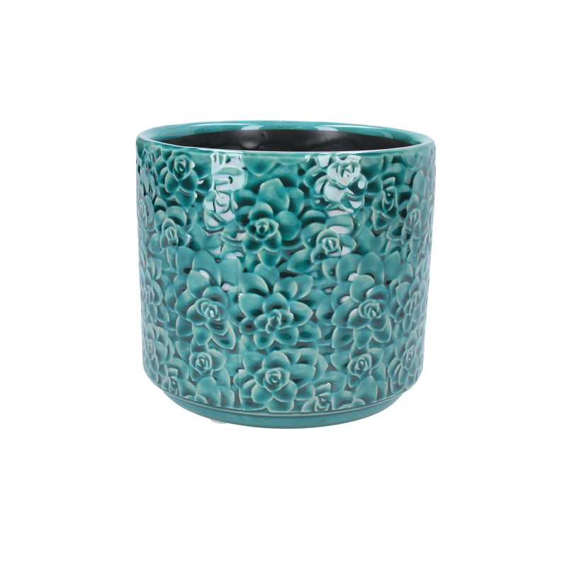 Teal Succulents Ceramic Plant Pot Cover - Small