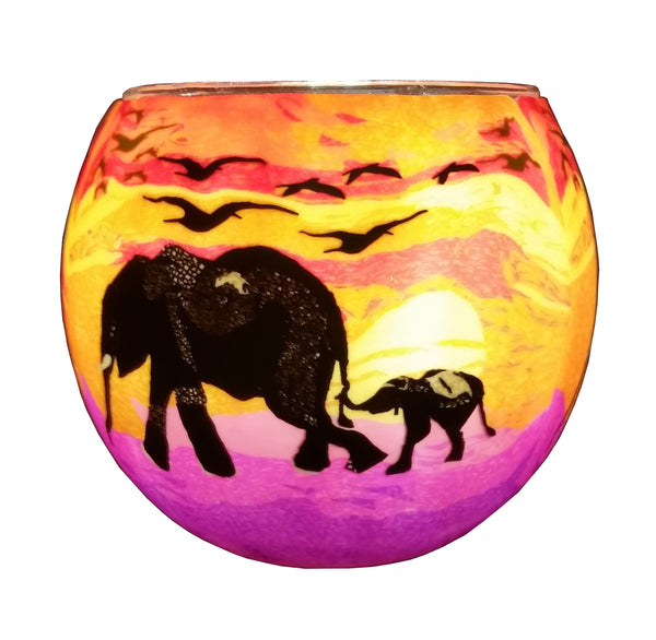 Glowing Glass Tea Light Holder - Elephant & Baby