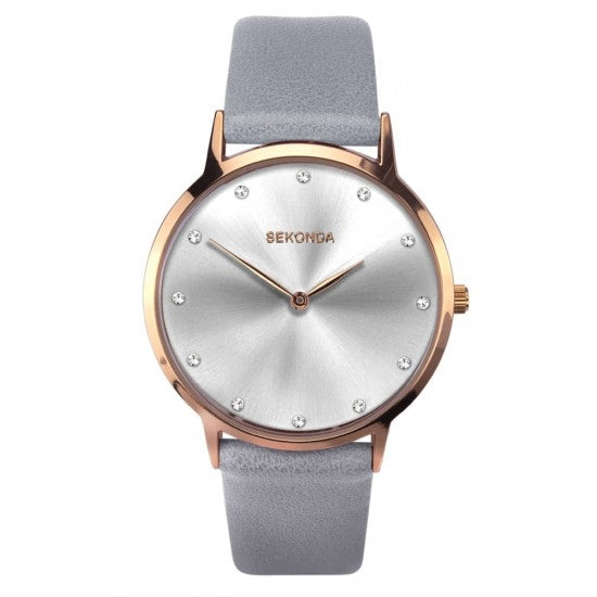 Women's Rose Gold And Grey Leather Watch
