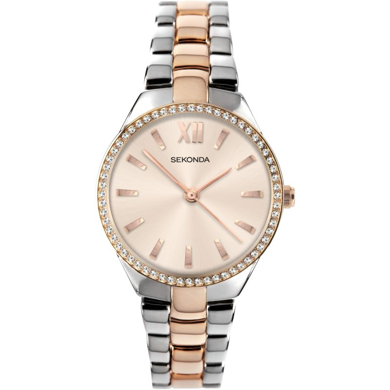 Women's Two Tone Crystal Bracelet Watch