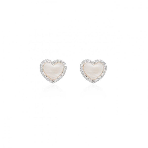 Pearlina Mother of Pearl Heart Stud Earrings