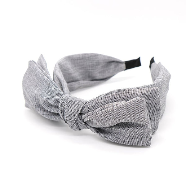 Pale grey large bow headband