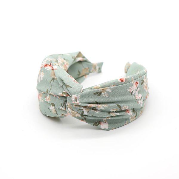 Aqua fabric headband with vintage floral print