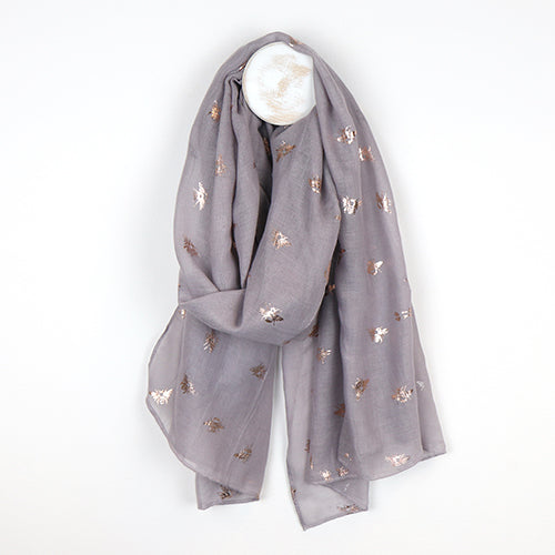 Grey Scarf With Metallic Bee Print