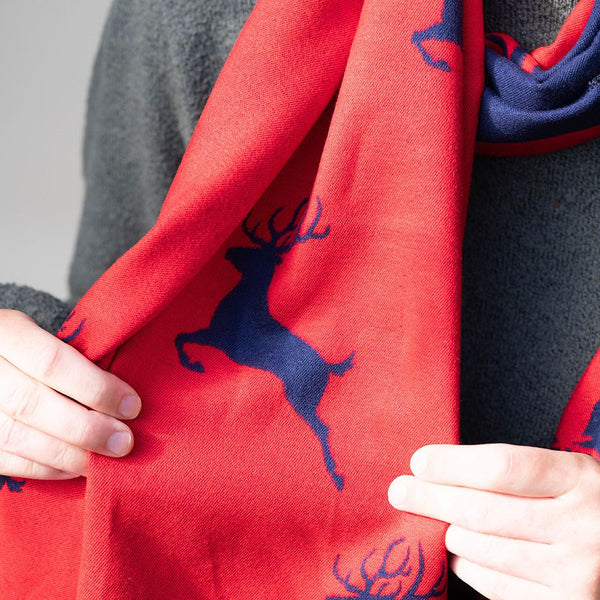 Reversible red and blue jacquard stag scarf