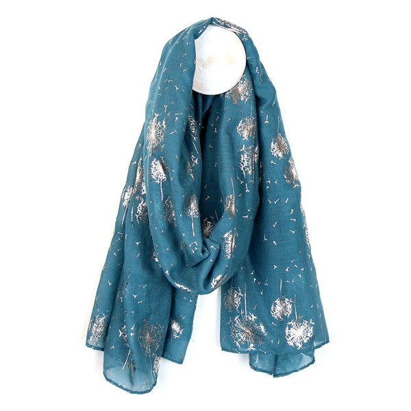 Teal scarf with rose gold dandelion print