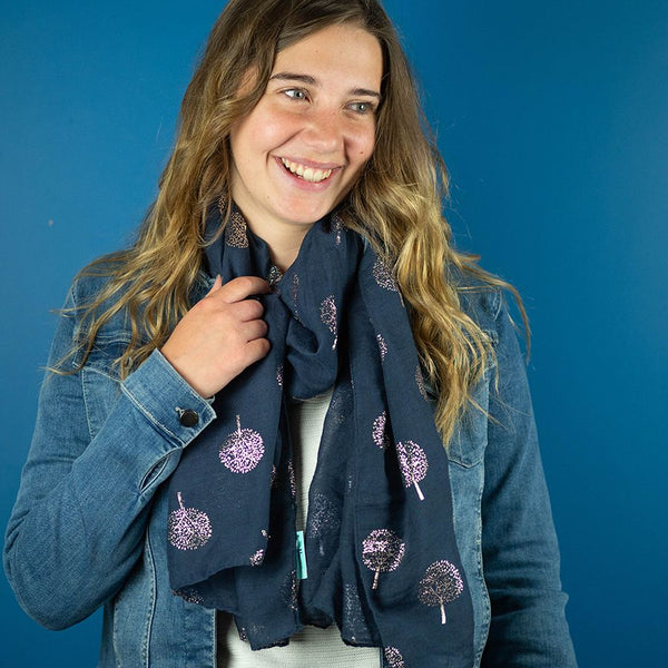 Slate scarf with rose gold tree print
