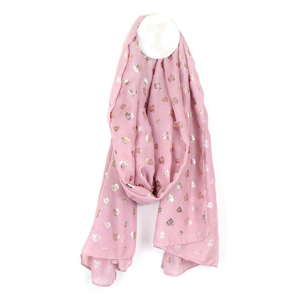 Pink and rose gold scribble heart scarf