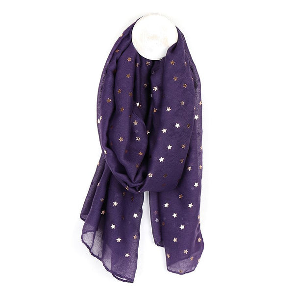 Purple scarf with rose gold star print
